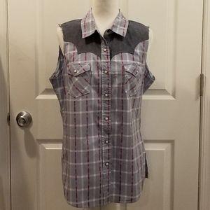Shyanne sleeveless blue Western shirt